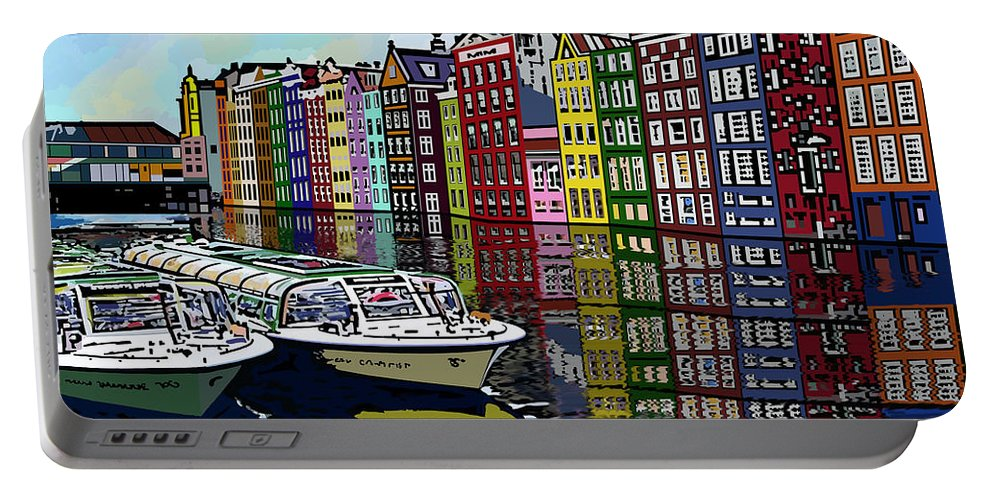 Amsterdam Portable Battery Charger featuring the digital art Amsterdam Holland by James Mingo
