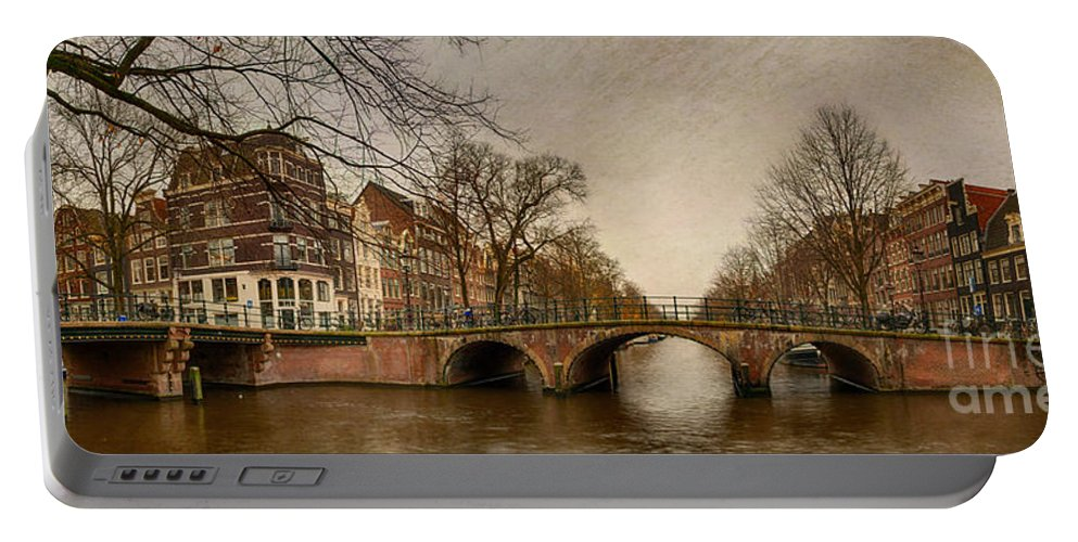 Amsterdam Portable Battery Charger featuring the photograph Amsterdam Panorama by Ann Garrett