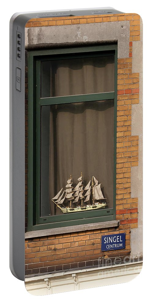 Window Portable Battery Charger featuring the photograph Amsterdam Window #6 by J L Woody Wooden