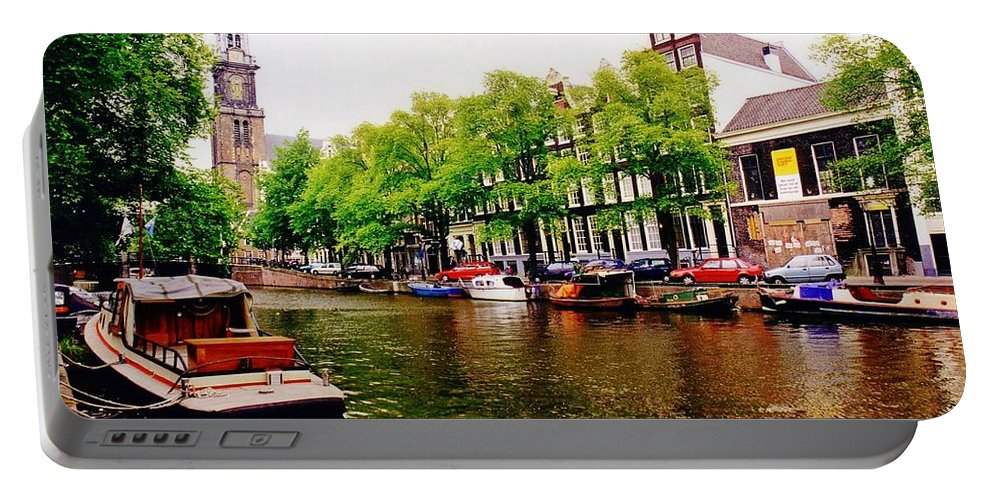 Amsterdams Westerkerk From The Canal Portable Battery Charger featuring the photograph Amsterdams Westerkerk From The Canal by John Malone