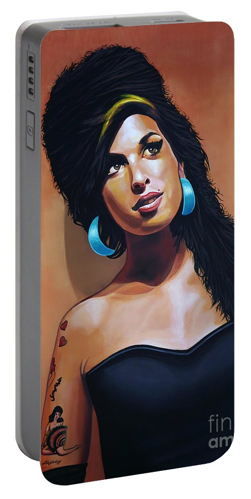 Amy Winehouse Portable Battery Charger featuring the painting Amy Winehouse by Paul Meijering