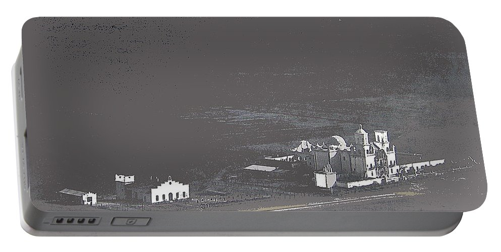 An Aerial View Of The San Xavier Mission No Date Tohono O'odham San Xavier Indian Reservation Padre Eusebio Kino Santa Cruz River Tucson Arizona Portable Battery Charger featuring the photograph An Aerial View Of The San Xavier Mission No Date-2013 by David Lee Guss