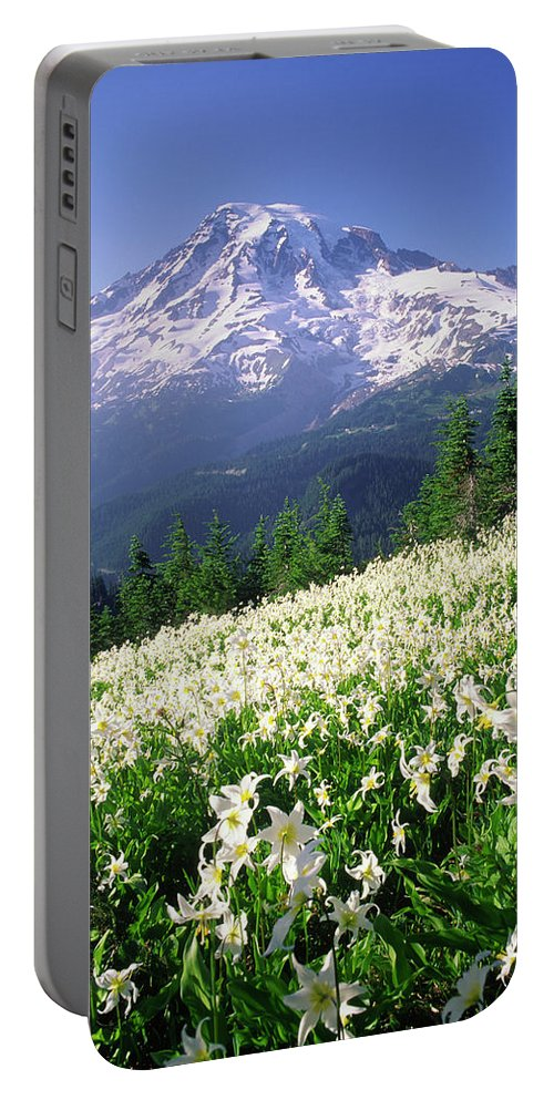 Color Image Portable Battery Charger featuring the photograph An Alpine Slope Turns White by Cliff Leight