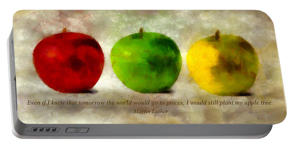 Apple Portable Battery Charger featuring the mixed media An Apple A Day With Martin Luther by Angelina Vick