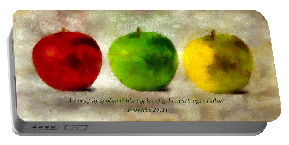 Apple Portable Battery Charger featuring the mixed media An Apple A Day With Proverbs by Angelina Vick