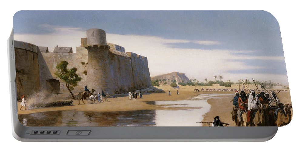 Academic Portable Battery Charger featuring the painting An Arab Caravan Outside A Fortified Town by Jean Leon Gerome