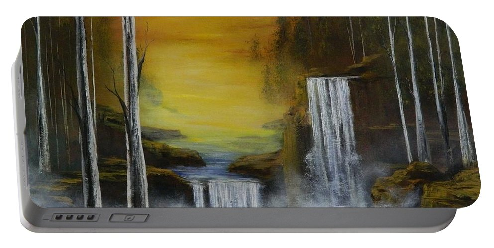 Trees Portable Battery Charger featuring the painting An Autumn Evening by Daniel Sanchez