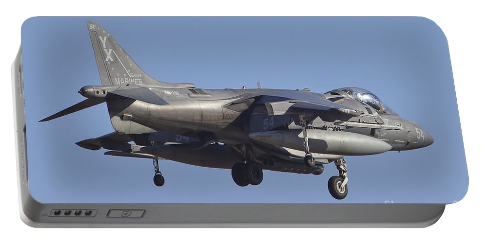 Horizontal Portable Battery Charger featuring the photograph An Av-8b Harrier II Flying Over Yuma by Timm Ziegenthaler