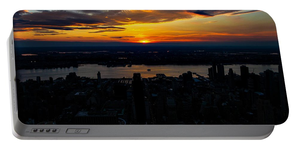 New York Architecture Portable Battery Charger featuring the photograph An Empire Sunset by Digital Kulprits