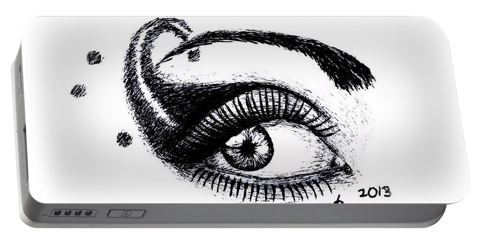 Eye Portable Battery Charger featuring the drawing An Eye For Art by Kayleigh Semeniuk