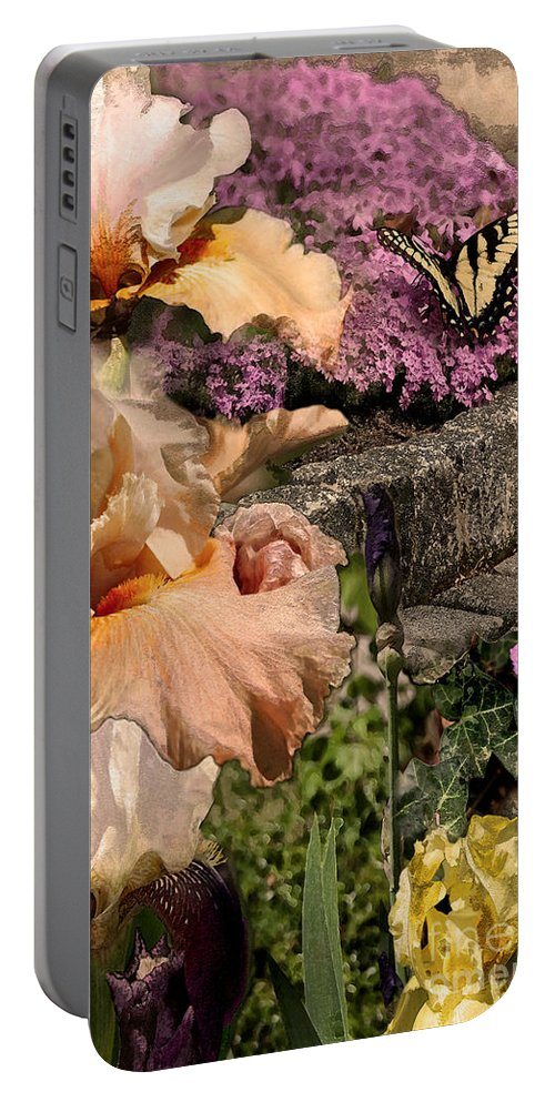 Flowers Portable Battery Charger featuring the digital art An Iris Surprise Center by Paul Gentille