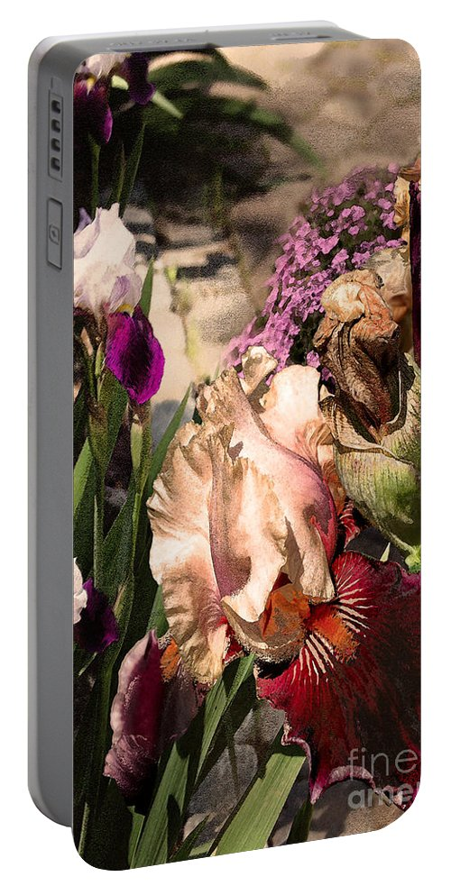 Flowers Portable Battery Charger featuring the digital art An Iris Surprise Left by Paul Gentille