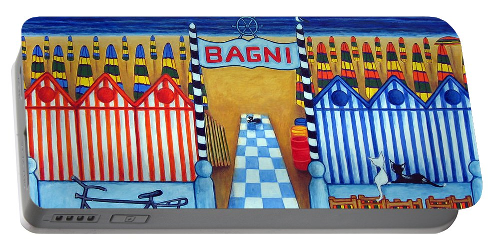 Italy Portable Battery Charger featuring the painting An Italian Summer's End by Lisa Lorenz