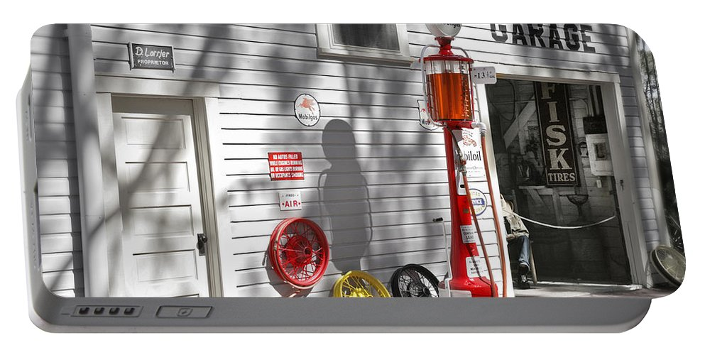 Garage Portable Battery Charger featuring the photograph An Old Village Gas Station by Mal Bray