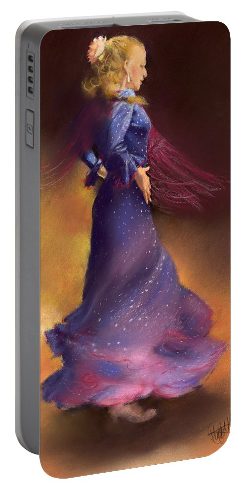 Pastel Portable Battery Charger featuring the painting Ana by Margaret Merry