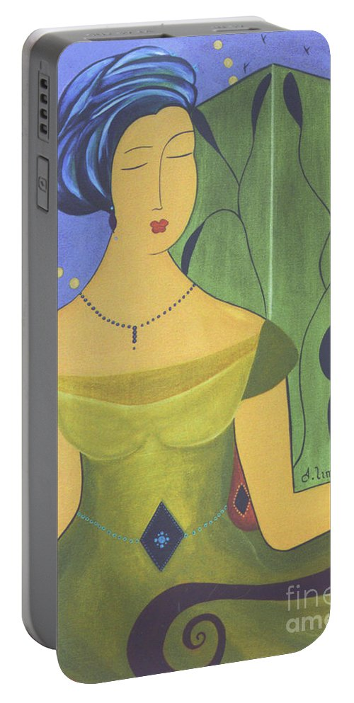 #female Portable Battery Charger featuring the painting Ancient Beauty by Jacquelinemari