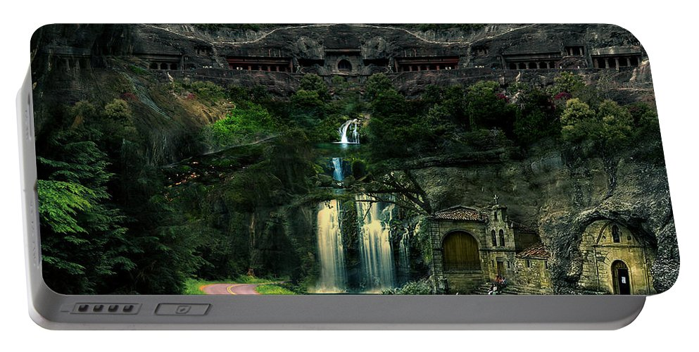Surrealism Portable Battery Charger featuring the photograph Ancient Caves And Nature by Artist Nandika Dutt