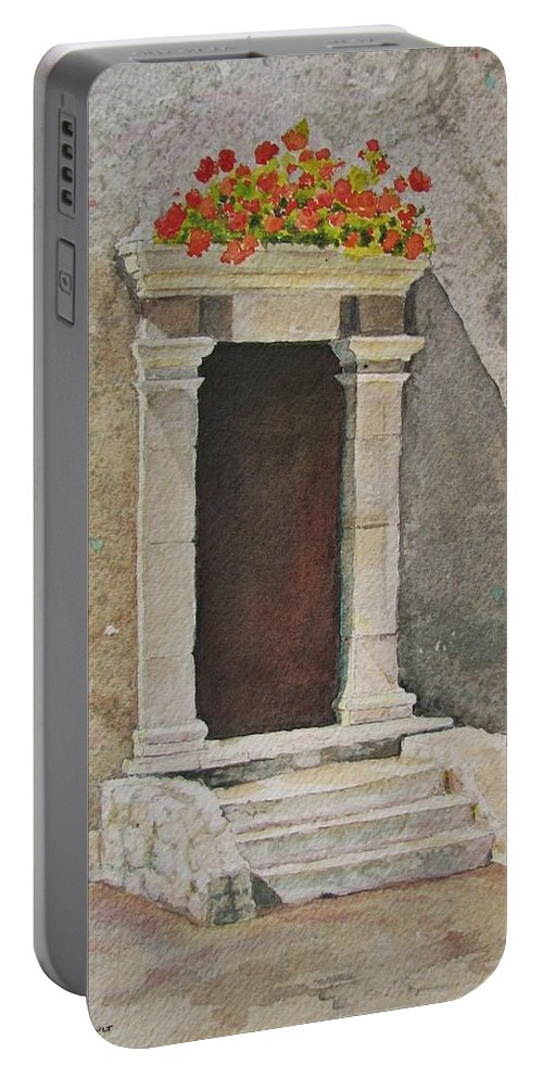 Antique Doorway Portable Battery Charger featuring the painting Ancient Doorway by Mary Ellen Mueller Legault
