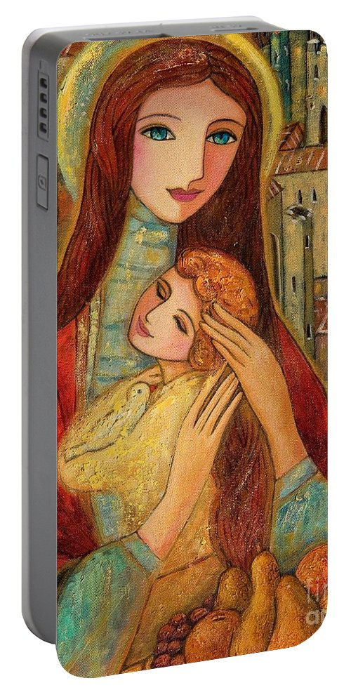 Mother And Child Portable Battery Charger featuring the painting Ancient Mother And Son by Shijun Munns
