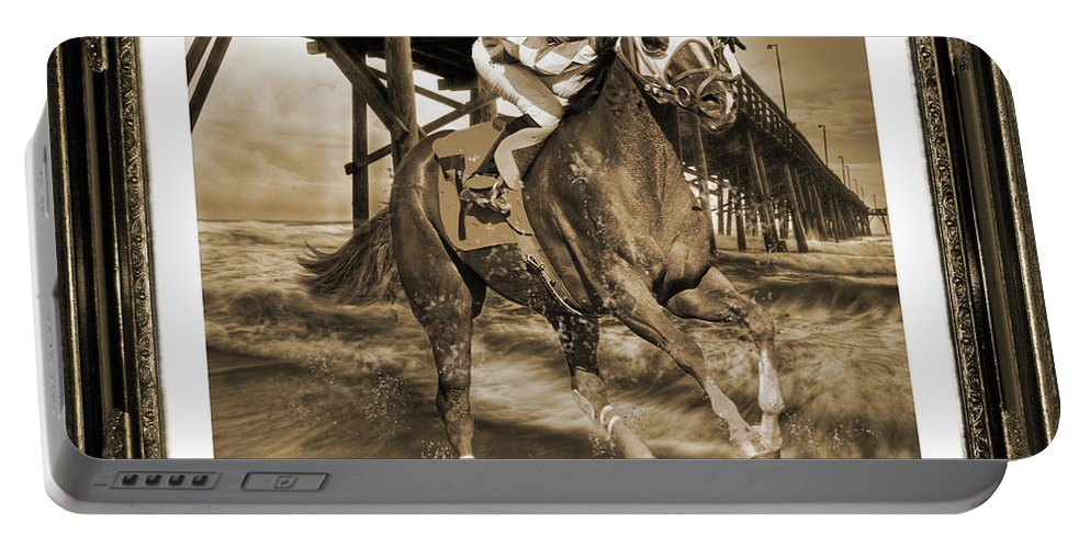 Horse Portable Battery Charger featuring the digital art And Away We Go by Betsy Knapp