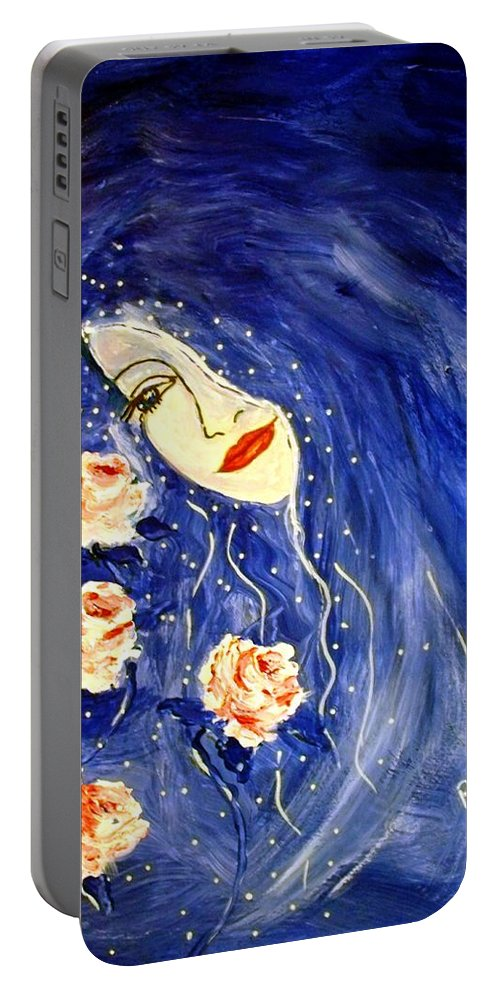 Love Portable Battery Charger featuring the painting And Her Love Grows... by Robin Monroe