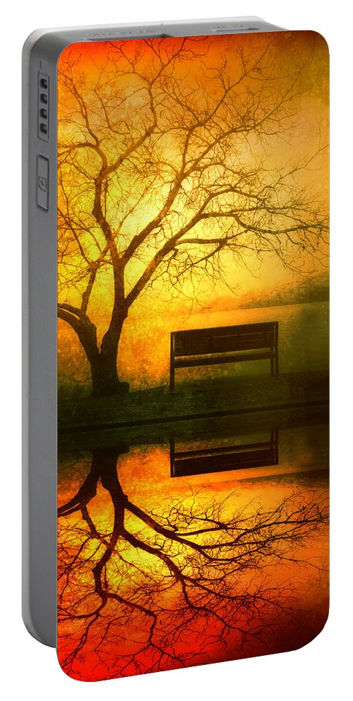 Bench Portable Battery Charger featuring the photograph And I Will Wait For You Until The Sun Goes Down by Tara Turner