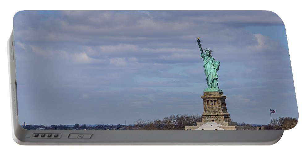 New York City Portable Battery Charger featuring the photograph ...and Justice For All by Angus Hooper Iii