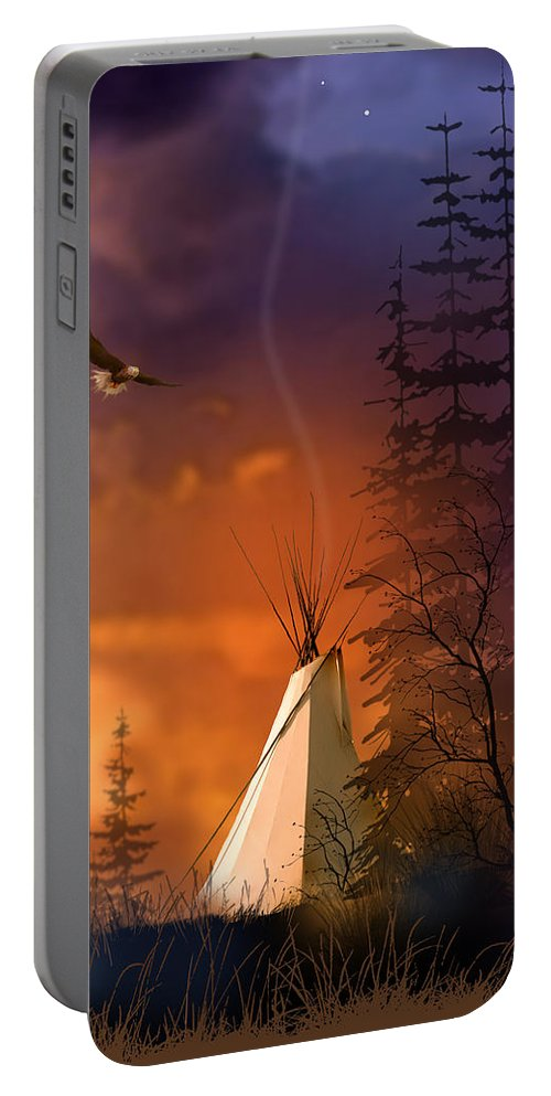 Native Americans Portable Battery Charger featuring the painting And The Home Of The Brave by Paul Sachtleben