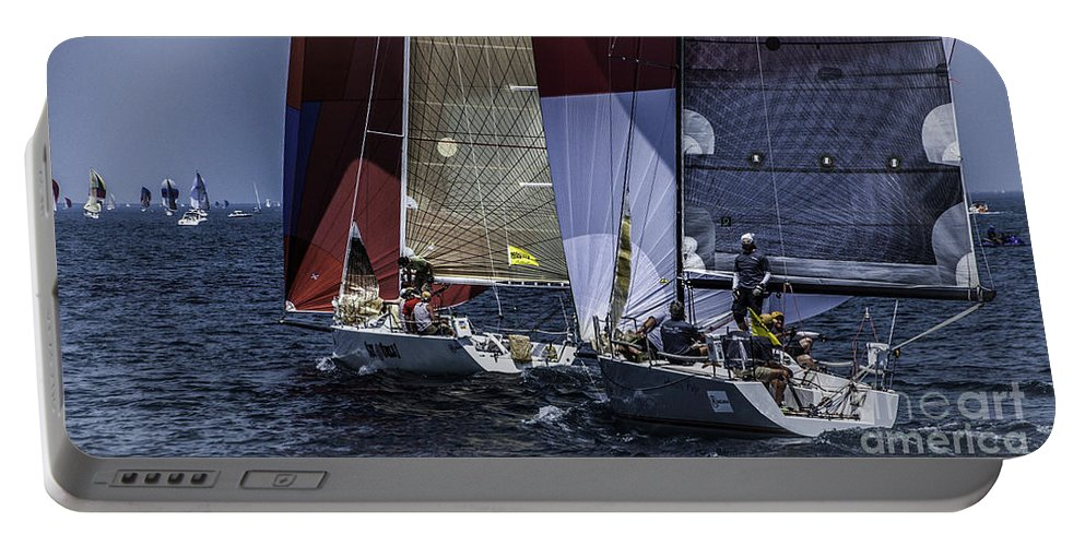 Sailboats Portable Battery Charger featuring the photograph And We Are Off by Ronald Grogan