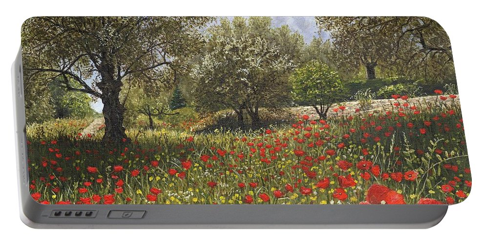 Landscape Portable Battery Charger featuring the painting Andalucian Poppies by Richard Harpum