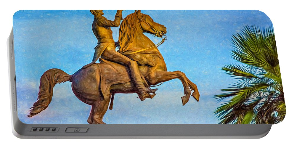 French Quarter Portable Battery Charger featuring the photograph Andrew Jackson - Paint by Steve Harrington