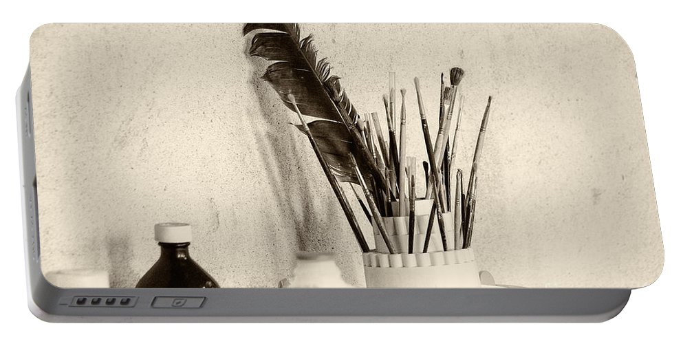 Brandywine Portable Battery Charger featuring the photograph Andrew's Feather by Jay Ressler