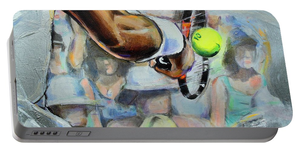 Andy Murray Portable Battery Charger featuring the painting Andy Murray - Wimbledon 2013 by Lucia Hoogervorst