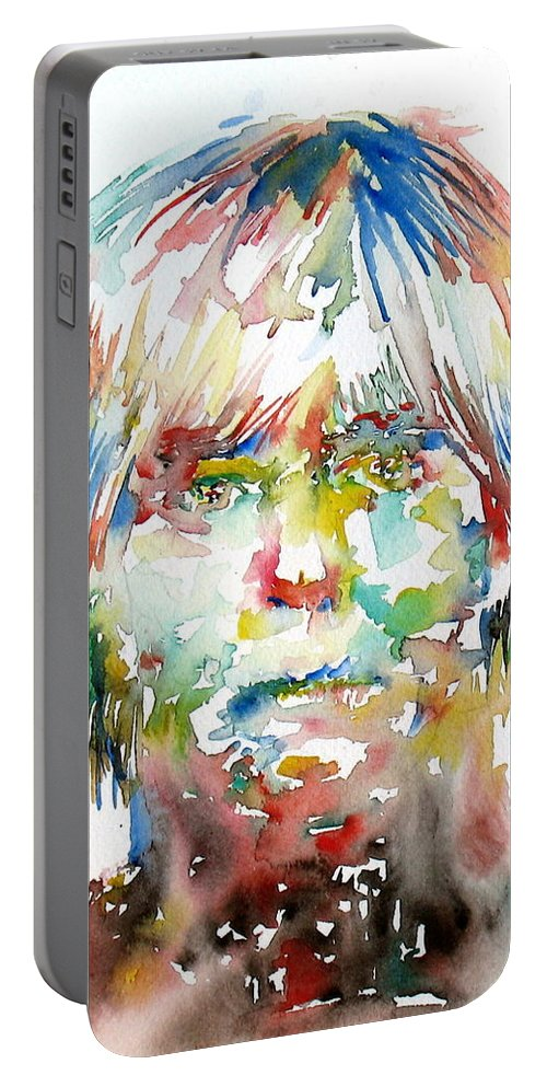 Andy Portable Battery Charger featuring the painting Andy Warhol Watercolor Portrait by Fabrizio Cassetta