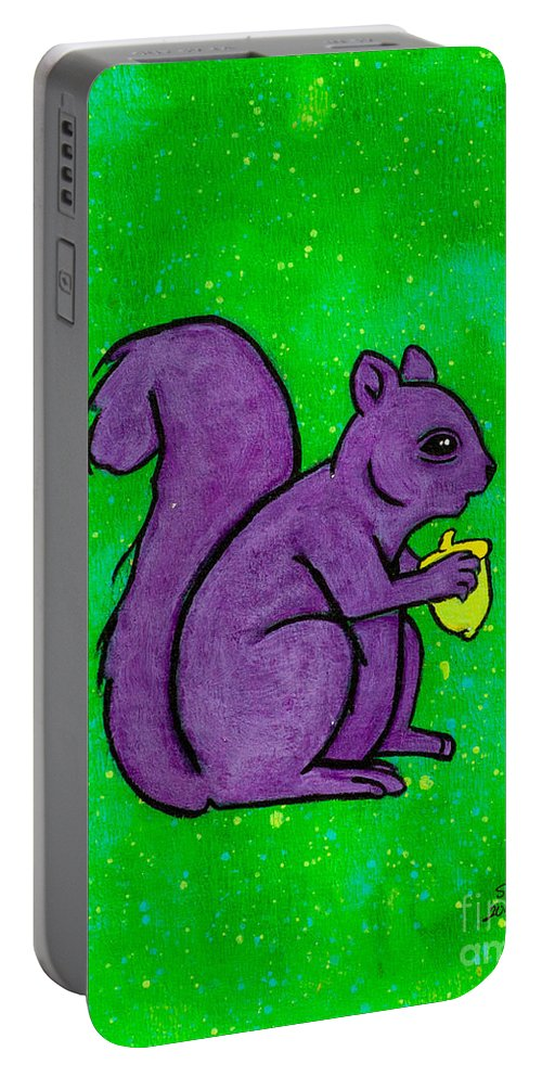 Portable Battery Charger featuring the painting Andy's Squirrel Purple by Stefanie Forck