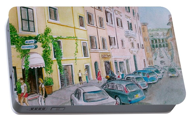 Hotel Anfiteatro Hotel Italy Coliseum Street Cars Ivy Buildings Rome Italy Portable Battery Charger featuring the painting Anfiteatro Hotel Rome Italy by Frank Hunter