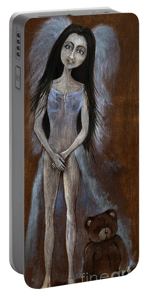 Girl Portable Battery Charger featuring the painting Angel And Teddy Bear by Angel Ciesniarska