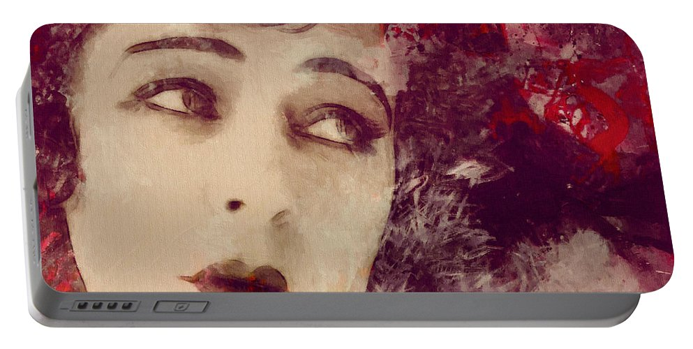 Look Love Lover Flapper Girl Female Woman Face Eyes Lips Beauty Erotic Actress Famous 20s Golden Times Painting Vintage Expressionism Impressionism Angel Kiss Portable Battery Charger featuring the painting Angel Eyes by Steve K