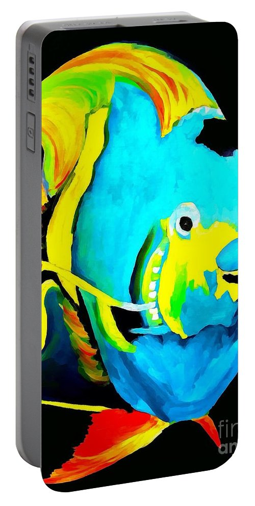 Fish Portable Battery Charger featuring the painting Angel Fish Impression by Saundra Myles