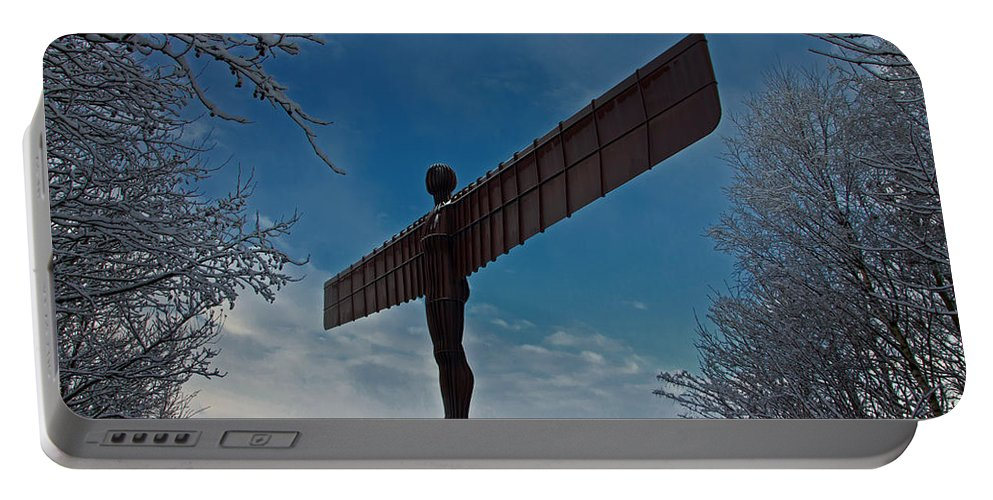Angel Of The North Portable Battery Charger featuring the photograph Angel In The Snow by David Pringle