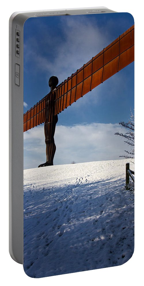 Angel Of The North Portable Battery Charger featuring the photograph Angel In The Snow Iv by David Pringle