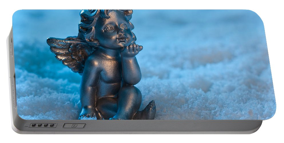 Adorable Portable Battery Charger featuring the photograph Angel In The Snow by U Schade
