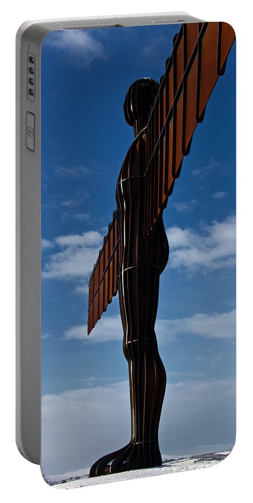 Angel Of The North Portable Battery Charger featuring the photograph Angel In The Snow Vi by David Pringle