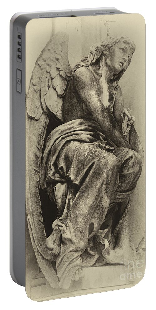 Cementerio La Recoleta Portable Battery Charger featuring the photograph Angel In Waiting 1 by Bob Christopher