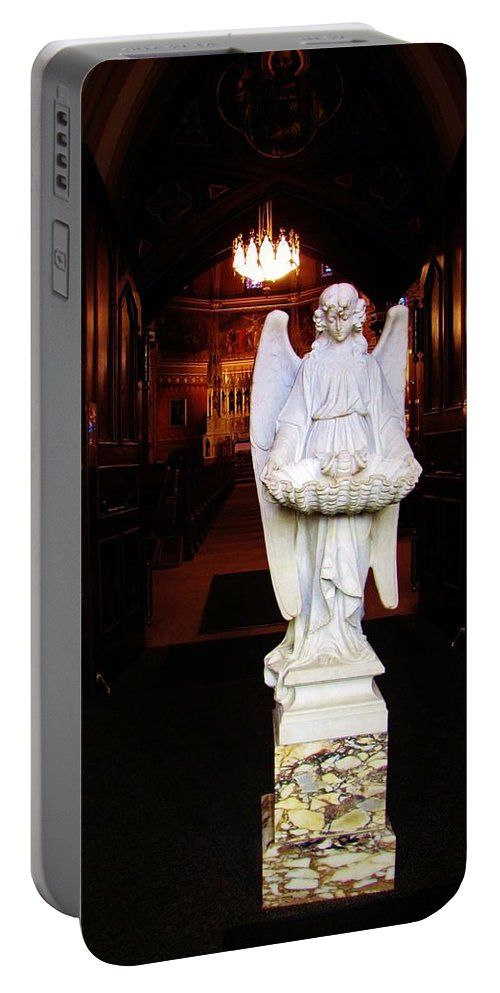Angel Portable Battery Charger featuring the photograph Angel Statue Offers Holy Water by Michael Saunders
