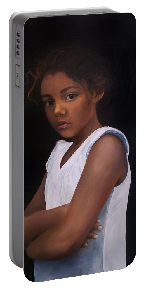 Child Portable Battery Charger featuring the painting Angelina by Anthony Enyedy