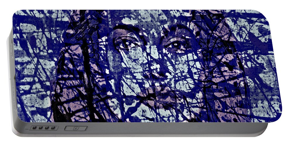 Angelina Jolie Portable Battery Charger featuring the digital art Angelina Jolie Splatter 1c by Brian Reaves