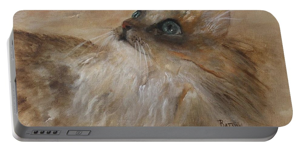 Cat Portable Battery Charger featuring the painting Watching A Butterfly by Barbie Batson
