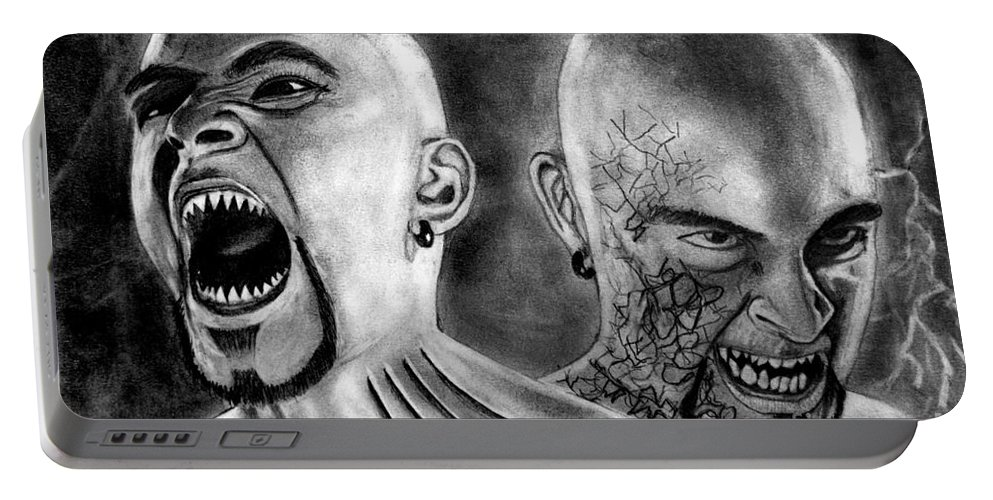 Angry Brothers Portable Battery Charger featuring the drawing Anger by Rishabh Ranjan