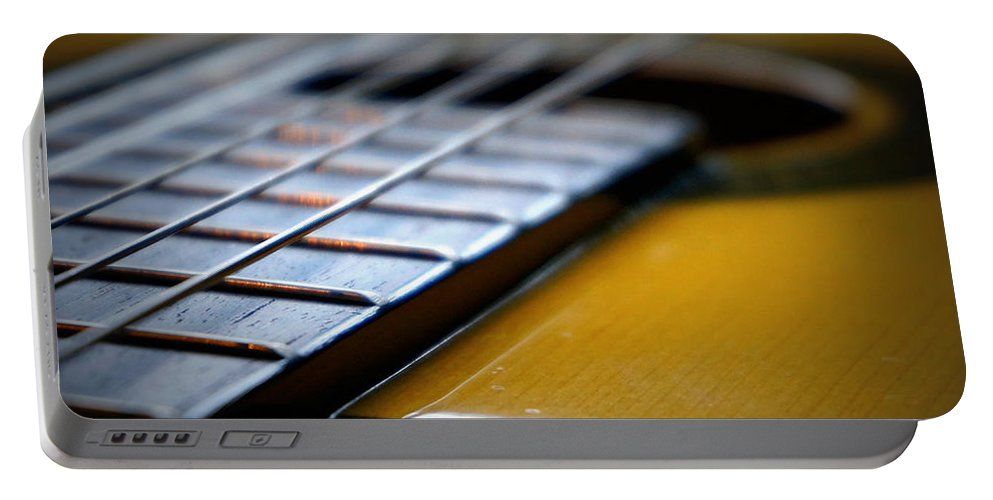 Photograph Portable Battery Charger featuring the photograph Angled Acoustic Guitar by Laurie Pike